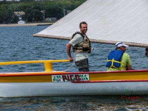 Azorean whaleboat Pico sailing in New Bedford, Massachusetts in 2015