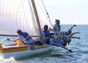 Azorean whaleboat Pico sailing during 2013 International Azorean Whaleboat Regatta in New Bedford, Massachusetts